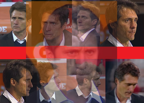 Angry faces of Boca Juniors manager Guillermo Barros Schelotto